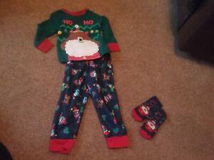Hey Duggee Christmas Pyjamas 12- 18 -24 Months fluffy beard Hoho Slipper Socks 3
