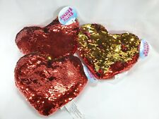 "3Heart Shaped Sequins Plush Pillow Red & Silver Valentine's Day Sofa Bed 7""x 8"""