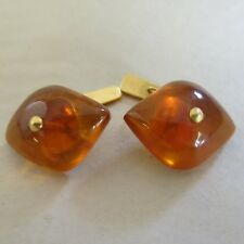 Gold Filled Russian Amber Jelly Belly Cufflinks 1940's [3665]