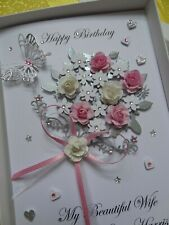 Handmade Personalised 3D Birthday Card / Any Age / Mother`s Day with GIFT BOX