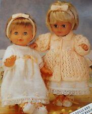 "Dolls Vintage Knitting Pattern Coat Hairband Dress Bootees DK 12-20"" L1037"