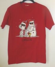 Men's T-Shirt,Peanuts,Snoopy,Size S,Red,Short Sleeve,Graphic Tee,Women,Woodstock