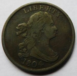 1804 Draped Bust Half Cent Spiked Chin - VF