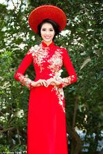 Ao dai co dau, Vietnamese traditional long dress, red silk ao dai w satin pants