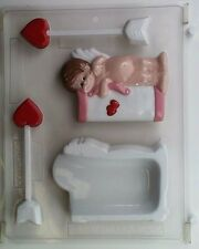 CUPID AND ARROW POUR BOX CLEAR PLASTIC CHOCOLATE CANDY MOLD V085