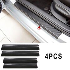 4 Pcs 3D Carbon Fiber Look Car-Styling Car Door Plate Anti-Kick Scratch Sticker