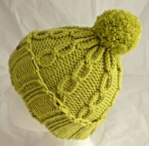 Chunky Lime Green Pom-Pom Cable Hat - kids to Adults - hand made- Brand New