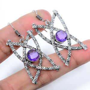 Top Quality Amethyst Handmade 925 Sterling Silver Jewelry Earring  VIE-733
