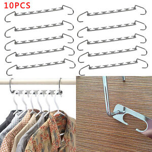 10x Metal Magic Clothes Closet Hangers Coat Clothing Organiser Space Saver Hooks