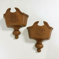2 Vintage Homco Faux Wood Hanging Wall Pocket Planter Plaque Home Decor 1982