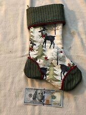 """Top Quality Hand Made Quilted Christmas Stocking Silk Lined 14""""x10"""""""