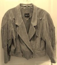 Vintage Leari Camel Leather Suede Jacket with Fringe - Misses Size Large