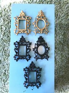 5 Vintage Black and Gold Cast Iron Picture Frames