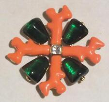 Large KJL Kenneth Jay Lane Coral Maltese Cross Pin Brooch