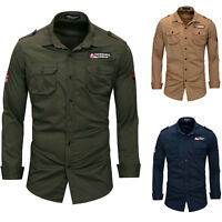 Mens Military Casual Shirt Outdoor Long Sleeve Shirts Work Shirts Tops GT474
