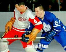 1960's NHL Red Wings Bill Gadsby vs Leafs Ron Ellis Color 8 X 10 Photo