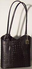 MADE IN ITALY Handbag Black Backpack Genuine Leather Shoulder Bag 1543 Crocodile