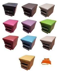 New Folding Ottoman with 2 Pull Out Drawers Compartment Storage Box Faux Leather