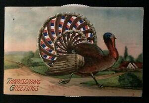 Turkey Mechanical Kaleidoscope Moving Tail Feathers Thanksgiving Postcard-k584