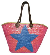French Market Basket Sparkling Sequin & Leather Bag Star Hot Pink & Blue