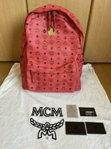 MCM rucksack backpack red L size Used