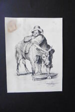 FRENCH SCHOOL 19thC - PORTRAIT OF SANCHO PANZA SIGN. LE DIEU - INK DRAWING