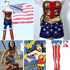 10 PC WONDER WOMAN Costume Retro Lynda Carter Stars Shorts LASSO Tiara Bracelets