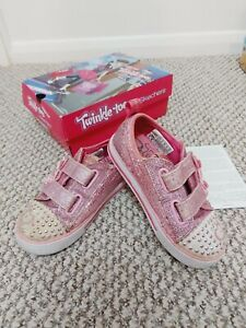 Super Cute Pink Sparkly Light Up Girls Sneakers Twinkle Toes By Skeches Size 9UK