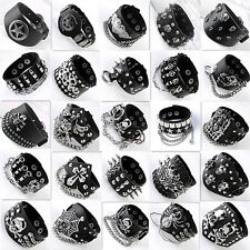 Mens Black Skull Chain Spike Leather Bracelet Cuff Wristband Gothic Biker Rock