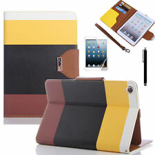 iPad Colorful Leather Wallet Flip Cover Case for I Pad Air 2 iPad 6 - 2014 Yellow