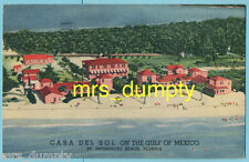 FL St. Petersburg~CASA DEL SOL Resort Aerial~4900 Gulf Blvd.~1940s Linen PC #7