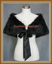 BLACK Faux Fur Bridal Wedding Shrug/Bolero/Cape/Evening Wrap/Shawl/Tippet/Coat