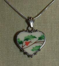 Broken China Jewelry Lenox Christmas Holly Petite Heart Pendant Necklace