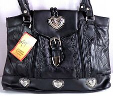 Maxam Purse Womens Black Genuine Lambskin Leather Shoulder Bag