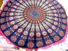 Indian round mandala with fringes Hippie multi bohemian closet  9*4 beach Decor