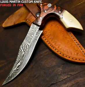 Louis Martin Hand Forged Damascus Steel Camel Bone Full Tang Hunting Knife
