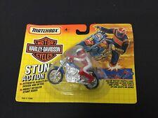 1992 #VINTAGE Matchbox BLUE Harley Davidson Stunt Action Bike #MOSC