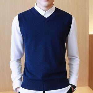 New Mens Sleeveless Sweater V-neck Pullover Knitted Jumper Slim Waistcoat Tops