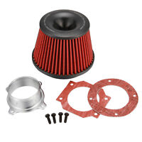 """3"""" Apexi Type Inlet Power Air Intake Red Racing Cone Air Filter Free Flange"""
