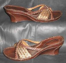Clarks Artisan metallic brown braided leather open toe mules sandals Women's 5 M