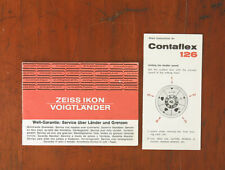 ZEISS CONTAFLEX 126 SHORT INSTRUCTIONS/19652