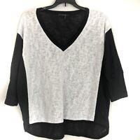 Nally & Millie Womens Top Dolman Sleeve Black White Color Block Size L