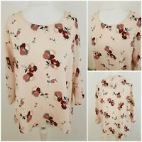 M&S Collection Womens Smart Floral Print Pink Green Blouse Tee Top Thin Light 16