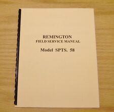 Remington Model  SPTS. 58 Field Service Manual Gunsmith - #33