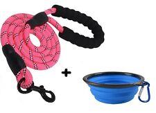 1 LAISSE CHIEN corde nylon ROSE solide + 1 bol gamelle pliable randonnée offert!
