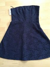 Bnwt🌹Next🌹Size 12 Navy Lace Effect Bandeau Skater Dress Evening Holiday New