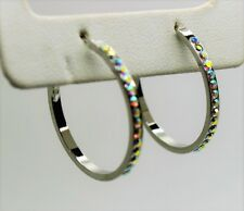 Elegant Classic Fashion Jewelry silver tone 1 inches round hoop Earring ab A185