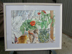 """Framed and matted 18"""" x 24"""" still life watercolor by Jack Eagle ( 1930-2009 )"""