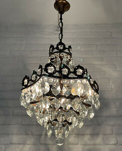 Antique Vintage Brass & Crystals Star Shape UNIQUE ! Chandelier Ceiling Lamp