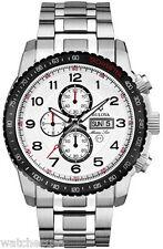 Bulova Marine Star Chronograph White Dial Stainless Steel Mens Watch 98C114